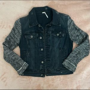Free People Black Denim Distressed Jacket